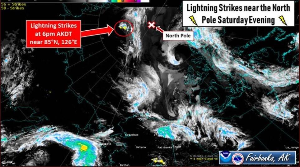 rayos detectados cerca del polo norte